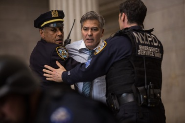 George Clooney (Lee Gates, center) stars with Giancarlo Esposito (Captain Marcus Powell, left) in TriStar Pictures' MONEY MONSTER.
