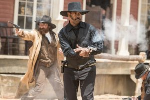 Still of Denzel Washington and Gianni Biasetti Jr. in The Magnificent Seven (2016)